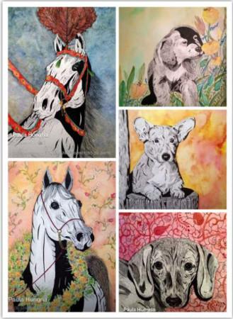 painel com caes e cavalos da artista Paula Hungria
