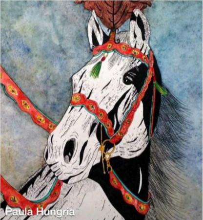 cavalos com redeas vermelhas