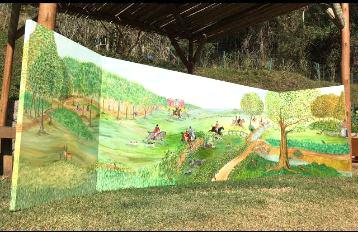 painel de floresta com cavalos e caçadores