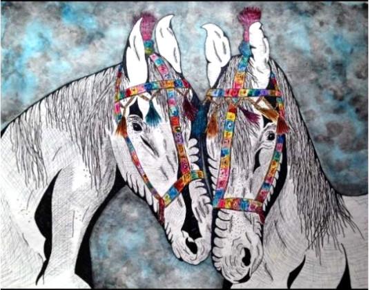 dois cavalos enfeitados
