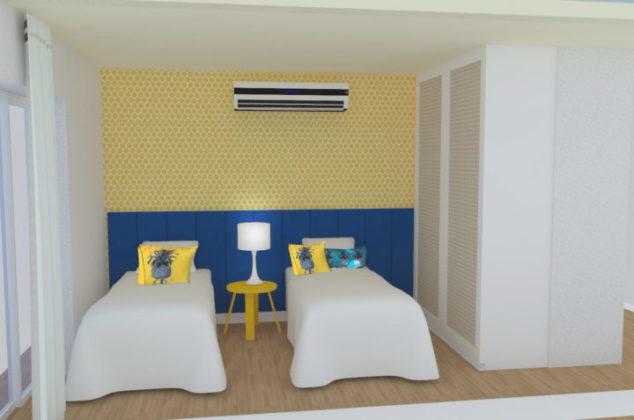 Lambri em azul marinho para um quarto de menina em Angra, projeto Celina Mello Franco e Liliane Abreu