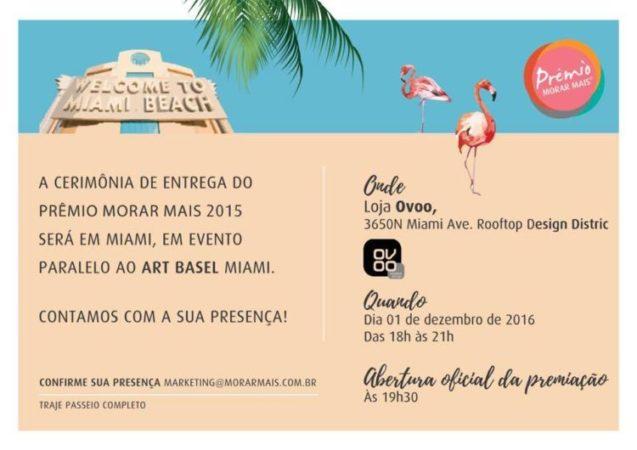 Convite do Morar Mais para premiação de 2015 na loja Ovoo em Miami.