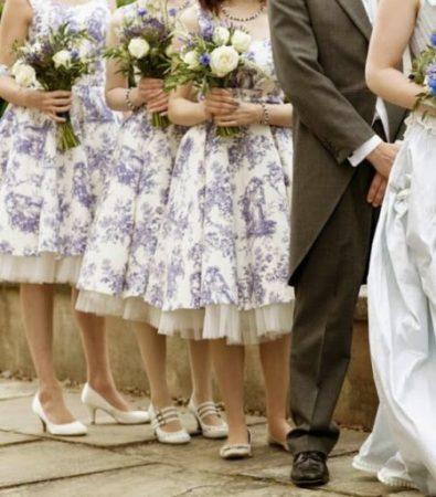 Madrinhas de casamento com vestido em Toile De Jouy