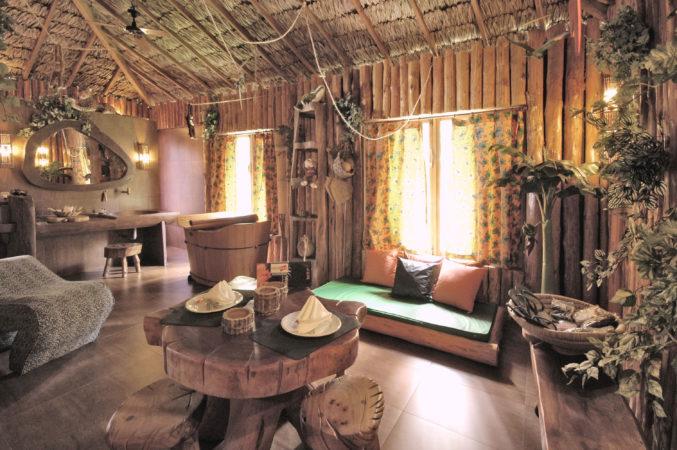 interior da suite tarzan motel com sofá e ofuro