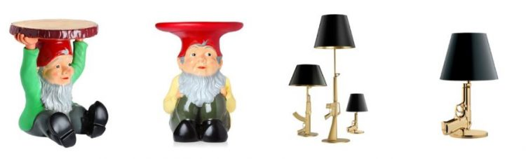 O banco de jardim Attila e as luminárias Gun Lamps, de Phillipe Starck