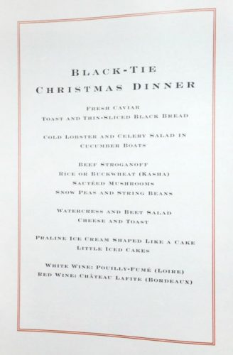 Menu Tiffany Black-Tie Christmas Dinner