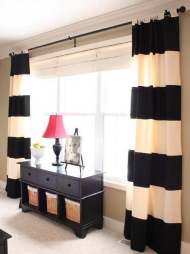 cortina listrada preto e branco