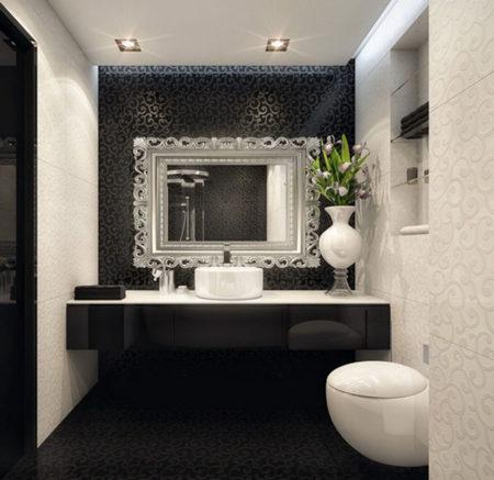 lavabo preto com espelho prateado