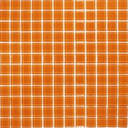 Revestimento em pastilhas de vidro, em cor de laranja.