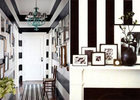 corredor listado de preto e branco