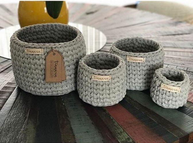 conjunto de cestas cinzas tramaria