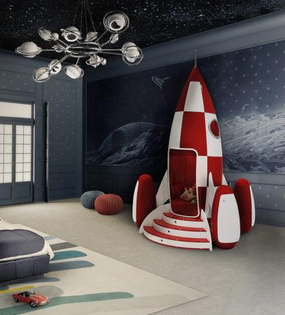 foguete em quarto de criança