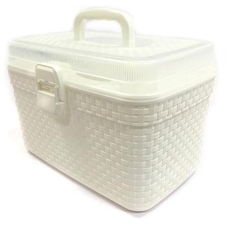 Caixa plastica branca com tampo.