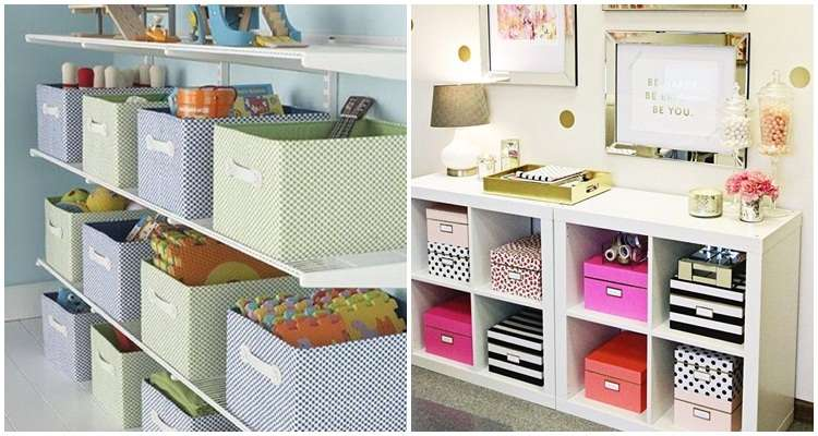 Caixas organizadoras em estantes.
