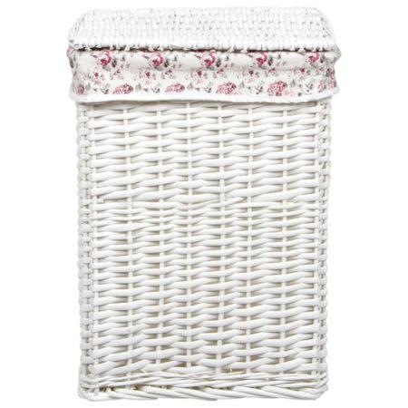 cesto em vime branco com forro estampado de florzinhas.