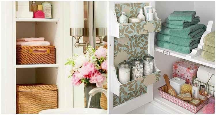 Organização em banheiros com cestos e potes.