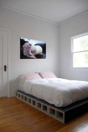 cama com base em blocos de concreto
