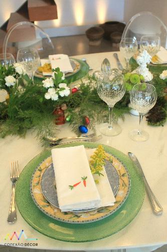 Mesa de Pascoa verde guardanapos varal conexao decor