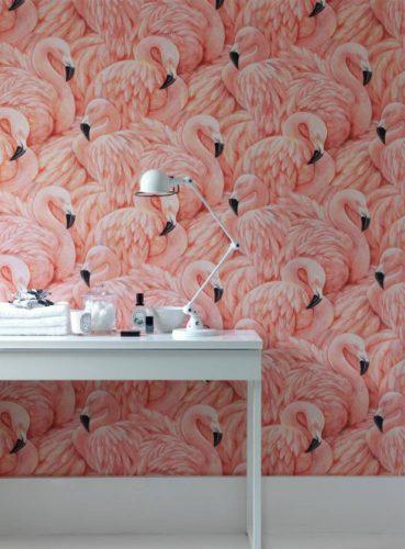 Papel de parede rosa de flamingos Albany
