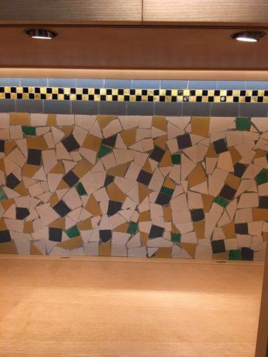 detalhe das paredes do Interior da loja Hermès Rive Gauche