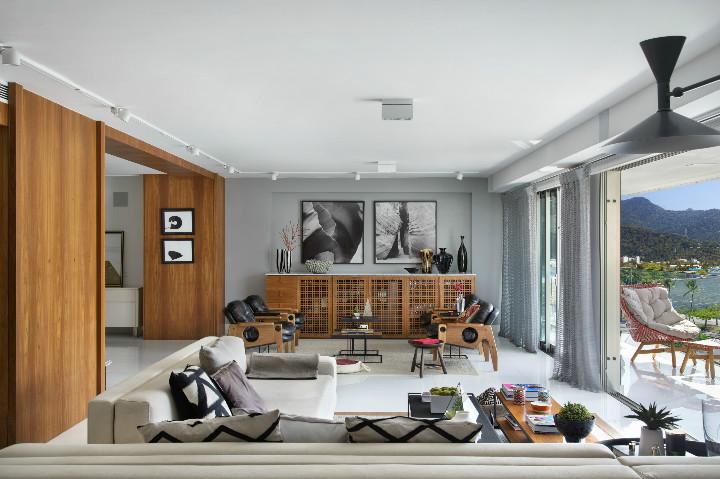 sala do apartamento da lagoa diamante azul por Roberta Devisate