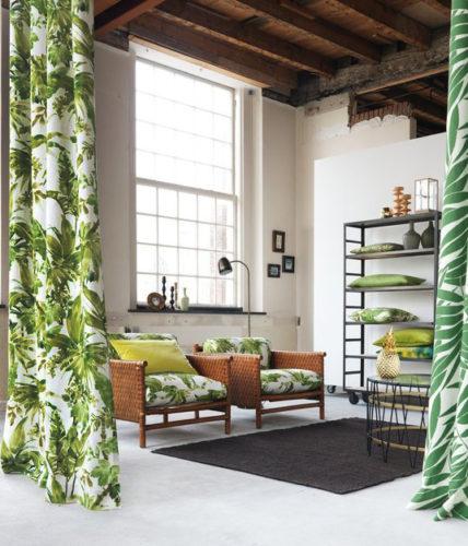 cortinas com estampa de decoração tropical