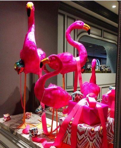 Flamingos em papier marche como enfeites de natal no Hotel Intercontinental Sydney