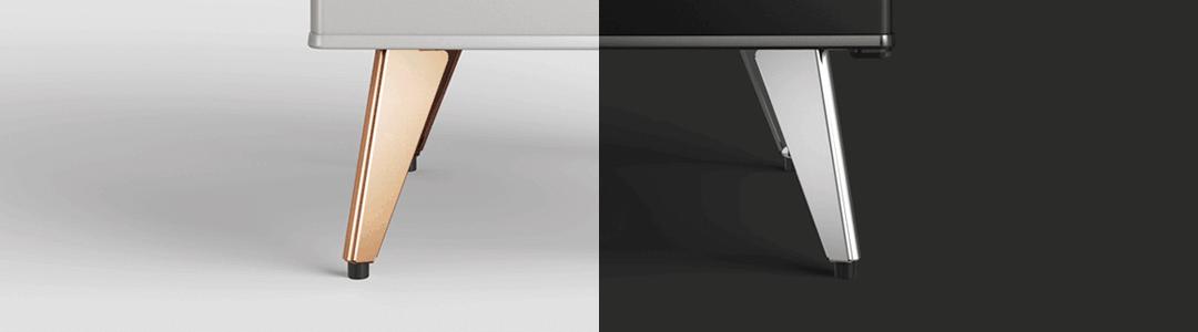 Frigobar na decoração, no modelo Retrô do frigobar da Brastemp , dependendo do modelo você pode encontrar os pés palito em cobre ou prata.