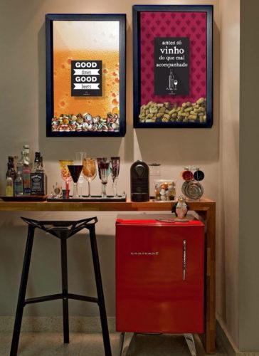 Frigobar na decoração, cantinho do café, bar e frigobar,