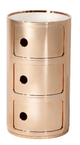Gaveteiro-Componibili-assinado-por-Anna-Castelli-Ferrieri-para-a-Kartell- na Novo Ambiente rosa gold