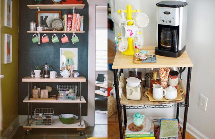 Carrinhos para guardar tudo o que você vai precisar para a hora do café e deixar o cantinho do café na decoração bem charmoso.