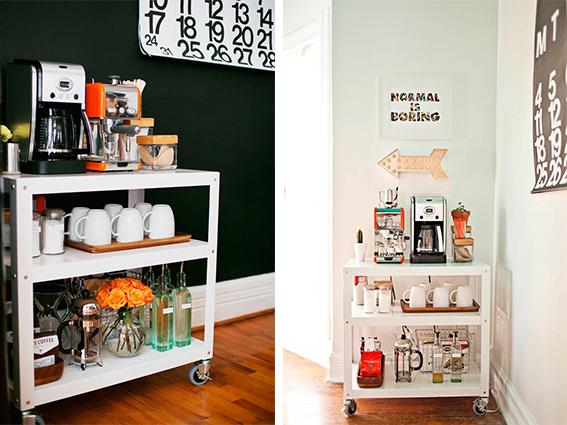 Sem duvida o carrinho é uma boa opção para o seu cantinho de decoração para o café.