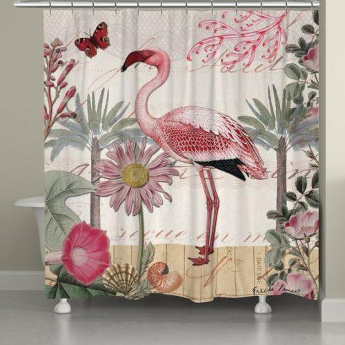 Cortina de banheiro de flamingo