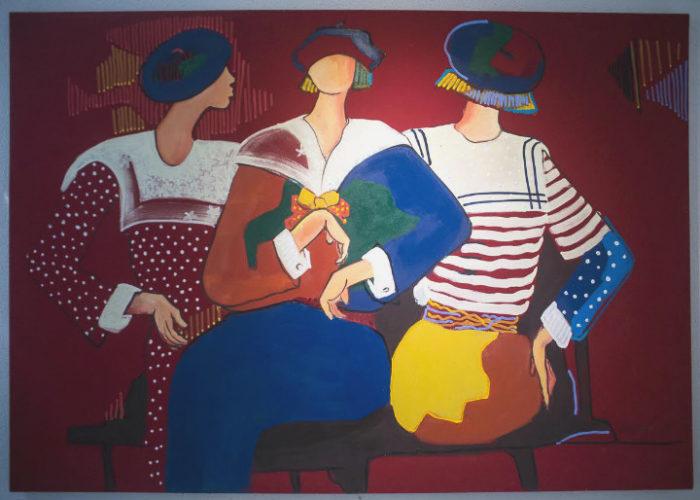 Obra de Abigail Vasthi de 3 moças com roupas de marinheira