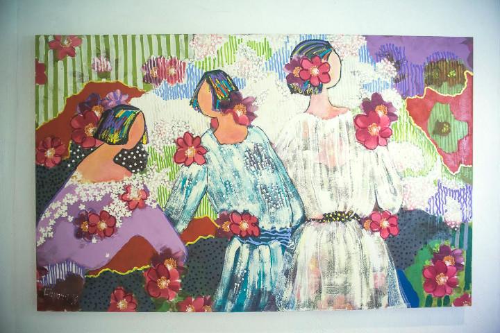 Obra de Abigail Vasthi com 3 moças camponesas
