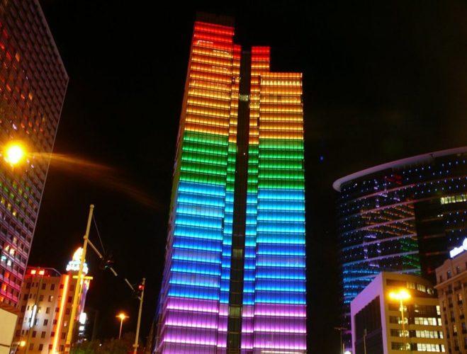 Edifícios coloridos pelo mundo,Pacific Design Center, Hollywood, Califórnia, EUA