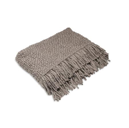 Manta em lã de trama natural, encontrada na Saccaro.