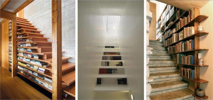 Biblioteca em casa, decorando com livros. Livros na escada .
