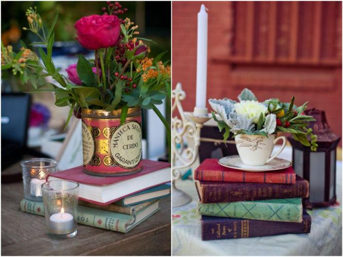 Biblioteca em casa, decorando com livros. Flores , velas e livros.