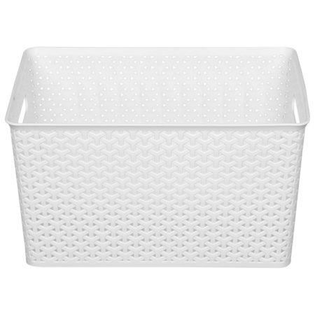 Cestinha de plastico branca, para ajudar a organizar sua lavanderia.