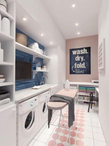 Lavanderia decorada. Um espaço mais generoso que coube uma televisão.