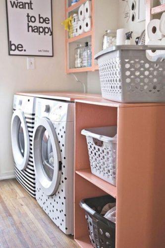 Lavanderia decorada, máquinas de lavar customizadas .