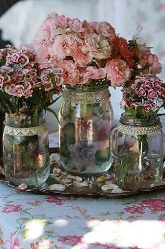 Arranjos de flores no estilo Shabby Chic