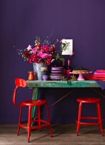 Paredes coloridas com sugestão da cor