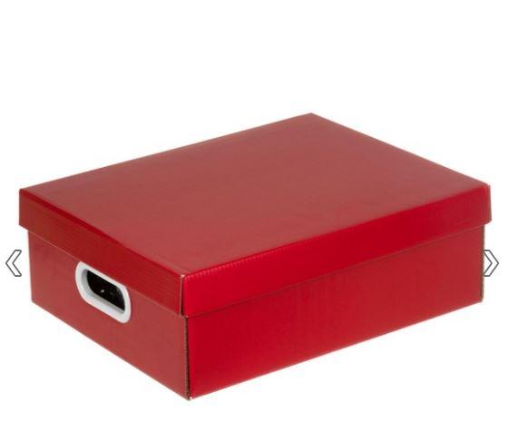Caixa de papelão vermelha, encontrada na Leroy Merlin