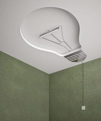 teto com desenho imitando lampada