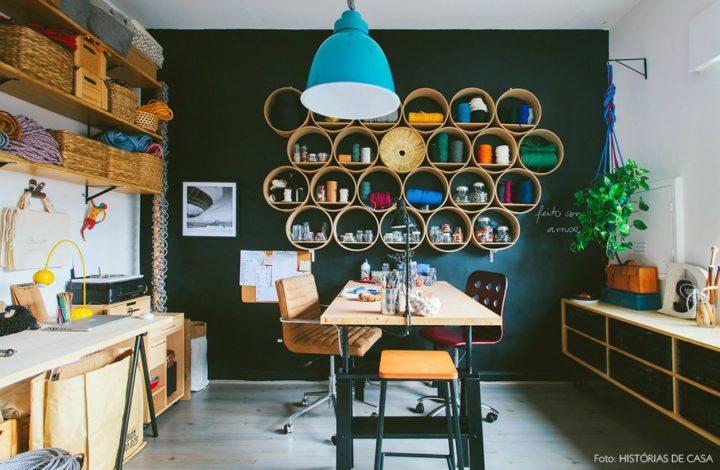 atelier com nichos redondos no atelier em casa