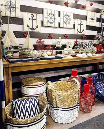 ABCasa feira dos sonhos!! Decoração náutica , cestos lindos.