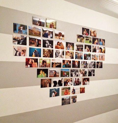 12 ideias baratinhas e rápidas faça você mesma ! Fotos 10x 15 colocadas da parede em forma de coração.