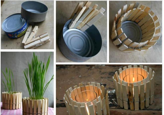 12 ideias baratinhas e rápidas faça você mesma ! Pregadores de roupas nas latinhas pequenas formam um vaso .